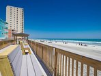 Rebuild sundeck with comfortable seating for hours of beach watching.