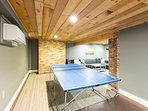 Ping pong table in game room.