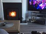 New inset wood burning stove - 50' t.v.