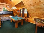 Pool Table, Foosball, and Bunk Beds in Loft