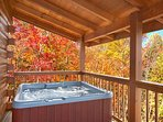 Hot Tub on Private Porch overlooking Beautiful Mountain Views