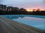 Sunset across the pool
