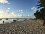 The trou aux biches beach 8 minutes walk away from the villa
