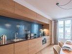 Open plan kitchen in living room