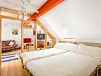The Bolt Hole's bedroom can be set up as either two singles or a super king size bed