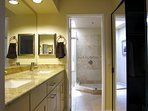 Master bath with shower and skylight.