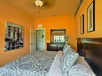 Warm colors, plush king bed, and nice decor will make anyone feel comfortable.