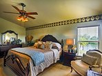You'll fall in love with the master's lush furnishings and beach decor.
