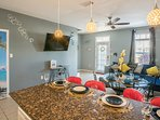 Enjoy a good meal or a fun group chat in the open living space