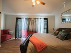 Relax in your own master bedroom, with king bed, and private sitting area