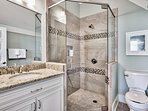 The ensuite for Guest Bedroom 3 has a step-in shower.