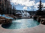 Enjoy family time at the pool all year round with awesome views of the slopes