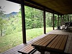 New PicNic Table, Several Rockers, and Lovely Views over the Pasture and Mountains beyond