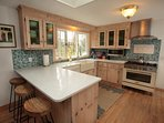 Newly updated Commercial Kitchen, Nantucket Farm House Sink, Sea Glass Quartz Countertops,Backsplash