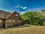 The Oak Barn has ample parking and panoramic views of the countryside.