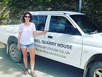 Dee, The House Manager with the Camelmobile. She's there to welcome you and help you.