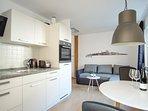 Wohnzimmer, Küche, Essbereich