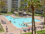 Splash around in the large pool if you are not tired out from the beach yet!