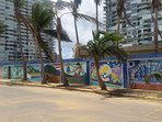 Wall paintings on ocean side.