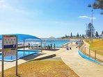 Salt water olympic swimming pool and children's wading pool only a 50 metre walk away.