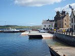 Lerwick Harbour with the Tollbooth in background.