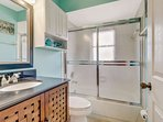 The guest bathroom features a full bathtub shower combination. All bed and bath linens and towel are included in your...