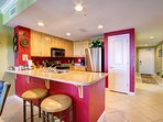 Upgraded kitchen with granite countertops....