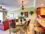 Dining Table Seating for 6 and Breakfast Bar Seating for 2