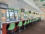 The SKY BAR in the walkover from the adjacent parking garage offers a great HAPPY HOUR!