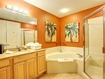 Guest master bath with jacuzzi tub!