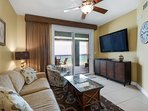 Gulf front views, Queen sofa sleeper and HUGE wall mounted HDTV for family viewing pleasure