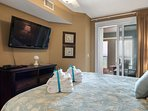 The Master suite also features a large flat screen TV and ample storage spaces