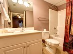 Queen Suite Private Bath with Single Vanity and Shower-Tub Combo