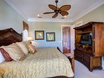 This bright and open King Master Suite also features luxury bedding and super soft sheets!