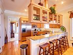Cooking on vacation will be so much fun in this gourmet kitchen with views of the gulf