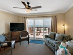 Large Flat panel HDTV and ample seating allows everyone to spend time together