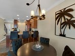 Dining table seating for four and seating at the breakfast bar means dining together is a given