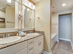 Large Master Bathroom Features Double Sink Vanity