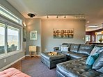 Make yourself comfortable on this leather sectional sofa.