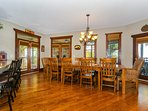 Dine at the large dining table that seats 10 - room for the whole family.