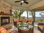 Gather around the outdoor gas fireplace on chilly evenings.
