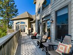Large deck outside living area with stunning views.