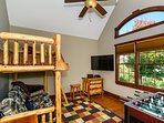 KIds will love the game room with Foosball, XBox and the bunk beds made out of logs.