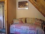 Twin bed in second bedroom with queen; baths both upstairs and downstairs. Bedrooms both upstairs.