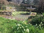 the old fountain sitting area in spring-time