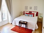 Master-bedroom with balcony. Double bed can be divided to or two single beds.