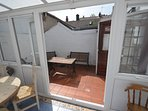 View to rear courtyard from conservatory
