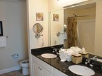 Master Bathroom with Double Sinks, Granite Counter Top, Toilet and Ultra Plush Towels
