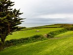 Stunning countryside views to the sea from the seating area