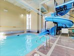 Large pools area with kids pool and water slides